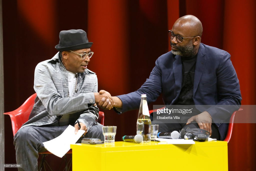 "Theaster Gates, Spike Lee and Dee Rees, in conversation with Okwui Enwezor, for the presentation of film program ""Soggettiva Theaster Gates"" at Fondazione Prada, Milan"