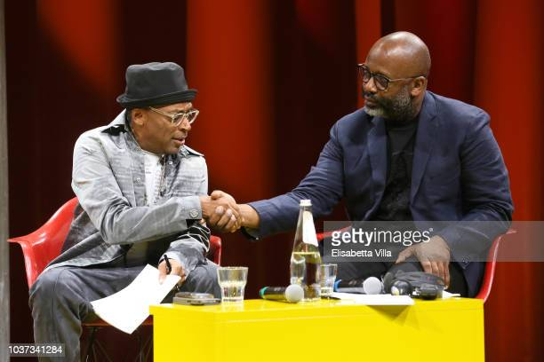Theaster Gates Dee Rees and Spike lee attend Theaster Gates Spike Lee and Dee Rees in conversation with Okwui Enwezor for the presentation of film...