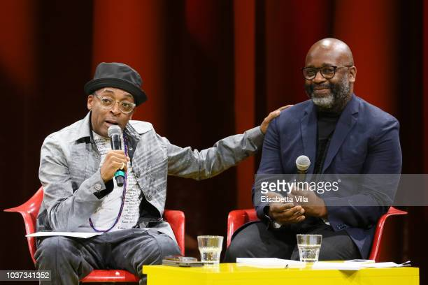 Spike Lee and Theaster Gates attend Theaster Gates Spike Lee and Dee Rees in conversation with Okwui Enwezor for the presentation of film program...