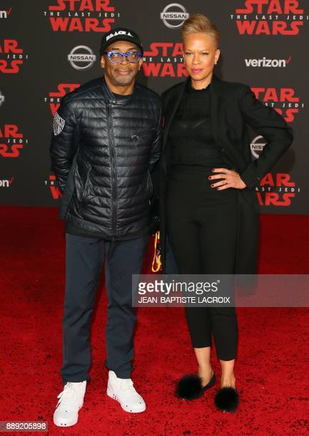 Spike Lee and Tonya Lewis Lee arrive for the premiere of Disney Pictures and Lucasfilm's 'Star Wars The Last Jedi' at The Shrine Auditorium in Los...