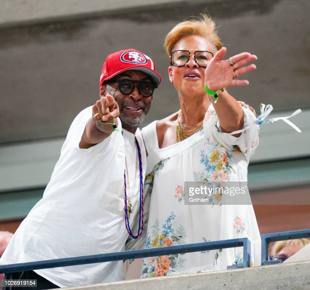 Spike Lee and Tonya Lewis Lee at 2018 US Open on September 4 2018 in New York City