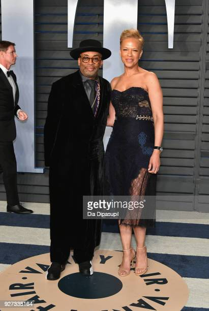 Spike Lee and Tonya Lewis Lee attend the 2018 Vanity Fair Oscar Party hosted by Radhika Jones at Wallis Annenberg Center for the Performing Arts on...