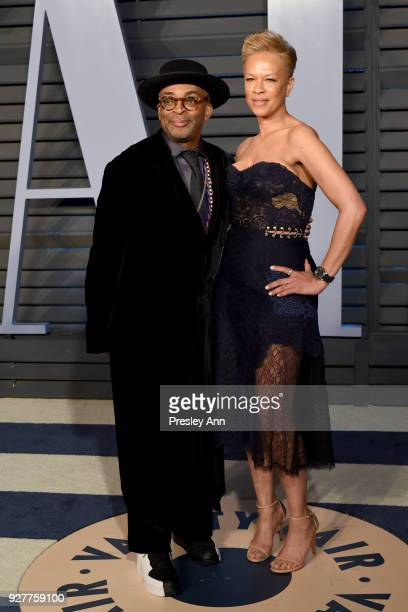 Spike Lee and Tonya Lewis Lee attend the 2018 Vanity Fair Oscar Party Hosted By Radhika Jones Arrivals at Wallis Annenberg Center for the Performing...