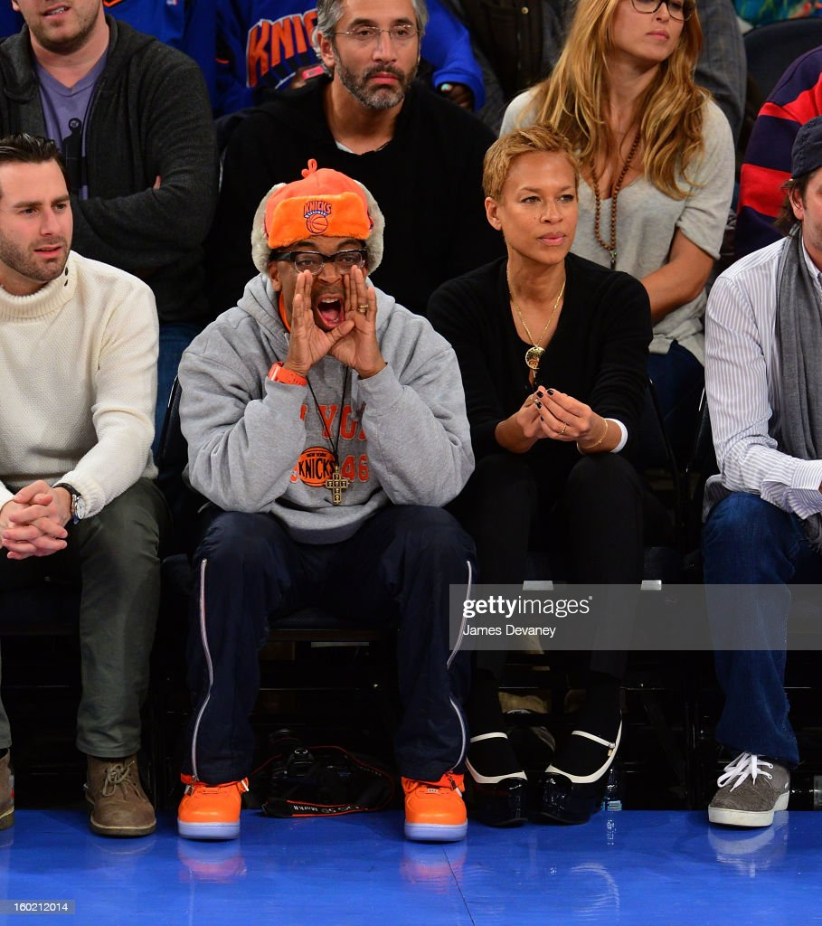 Celebrities Attend The Atlanta Hawks Vs New York Knicks Game