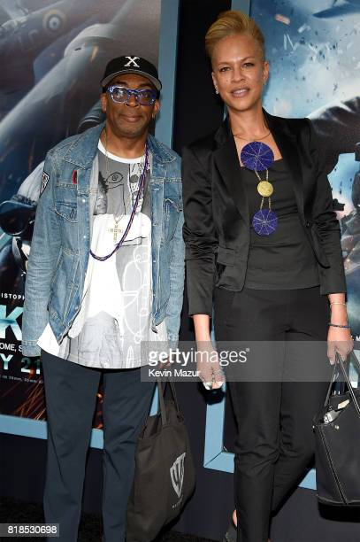 Spike Lee and Tonya Lewis Lee attend the 'DUNKIRK' premiere in New York City