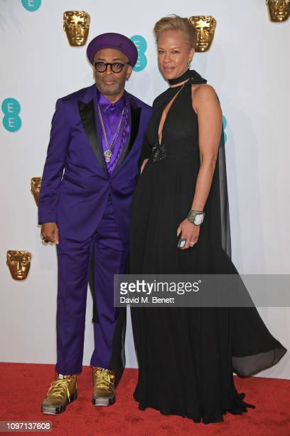 Spike Lee and Tonya Lewis Lee attend the EE British Academy Film Awards at Royal Albert Hall on February 10, 2019 in London, England.