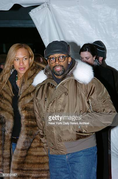 Spike Lee and wife Tonya Lewis Lee arrive at the Ziegfeld Theater for a special screening to celebrate the 25th anniversary of Raging Bull the 1980...