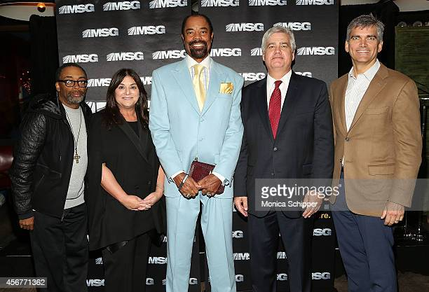 Spike Lee Andrea Greenberg Walt Clyde Frazier Dan Ronayne and Tad Smith attend MSG Networks' 201415 Season Kickoff at Catch Roof on October 6 2014 in...