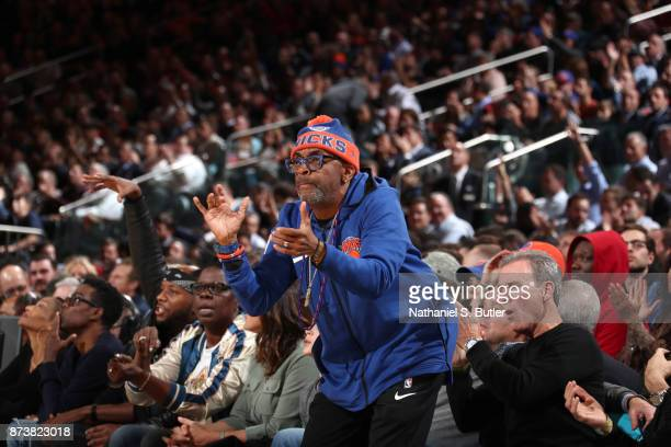 Spike Lee at the game between the Cleveland Cavaliers and the New York Knicks on November 13 2017 at Madison Square Garden in New York City New York...