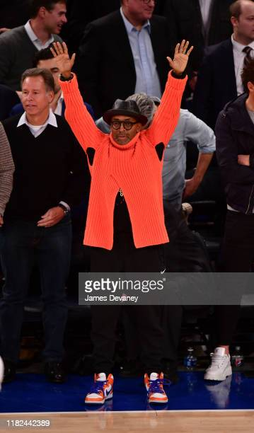 Spike Lee attends Dallas Mavericks v New York Knicks game at Madison Square Garden on November 14 2019 in New York City