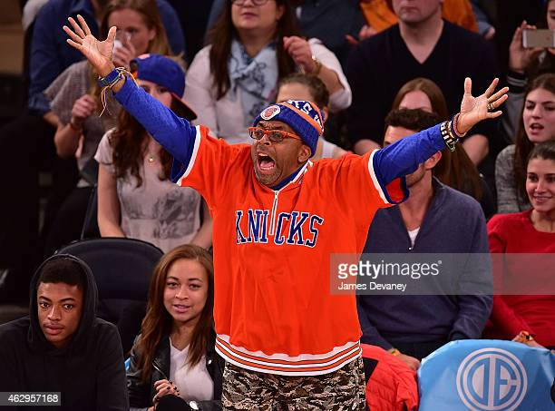 Spike Lee attends Golden State Warriors vs New York Knicks game at Madison Square Garden on February 7, 2015 in New York City.