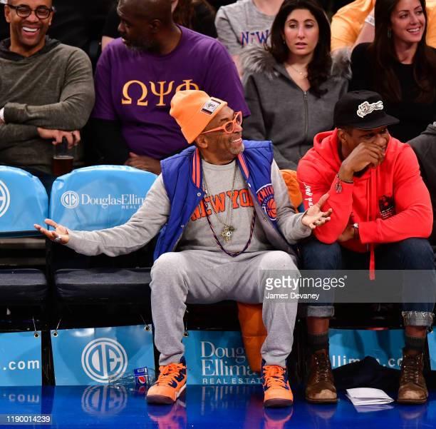 Spike Lee attends Milwaukee Bucks v New York Knicks game at Madison Square Garden on December 21 2019 in New York City