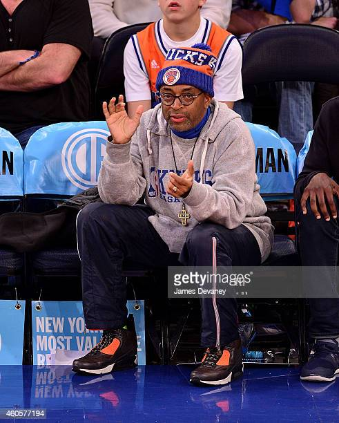 Spike Lee attends New York Knicks vs Dallas Mavericks game at Madison Square Garden on December 16 2014 in New York City