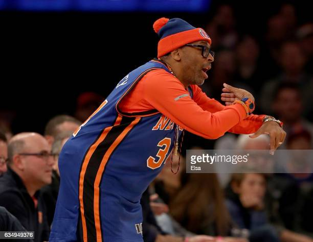 Spike Lee attends te game between the New York Knicks and the San Antonio Spurs at Madison Square Garden on February 12 2017 in New York City NOTE TO...