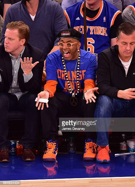 Spike Lee attends the Atlanta Hawks vs New York Knicks game at Madison Square Garden on October 29 2015 in New York City