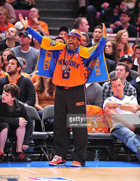 Spike Lee attends the Boston Celtics vs New York Knicks playoff game 3 at Madison Square Garden on April 22 2011 in New York City