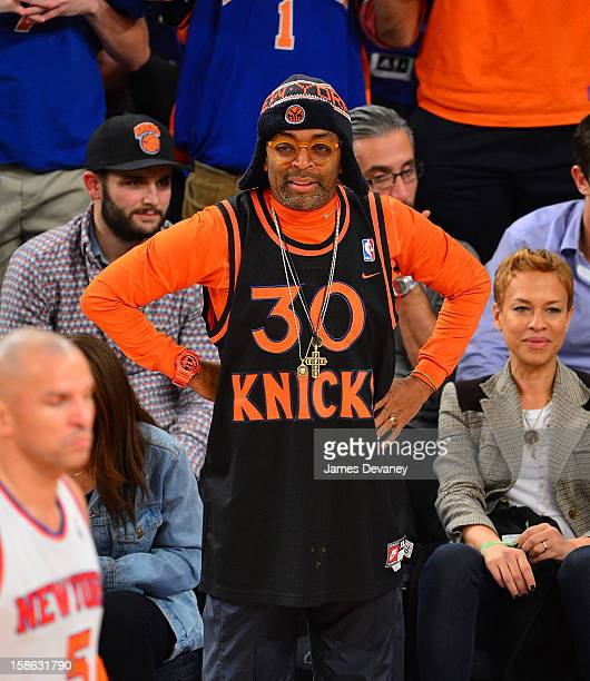 Spike Lee attends the Chicago Bulls vs New York Knicks game at Madison Square Garden on December 21 2012 in New York City