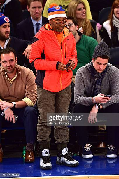 Spike Lee attends the Houston Rockets vs New York Knicks game at Madison Square Garden on January 8 2015 in New York City