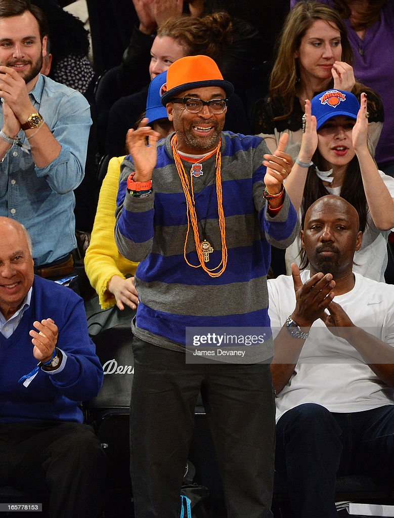 Spike Lee attends the Milwaukee Bucks vs New York Knicks game at Madison Square Garden on April 5, 2013 in New York City.