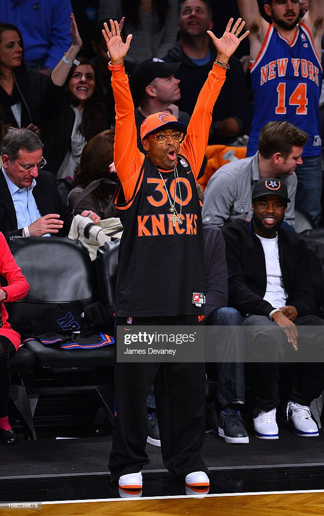 Spike Lee attends the New York Knicks vs Brooklyn Nets game at Barclays Center on December 11, 2012 in the Brooklyn borough of New York City.