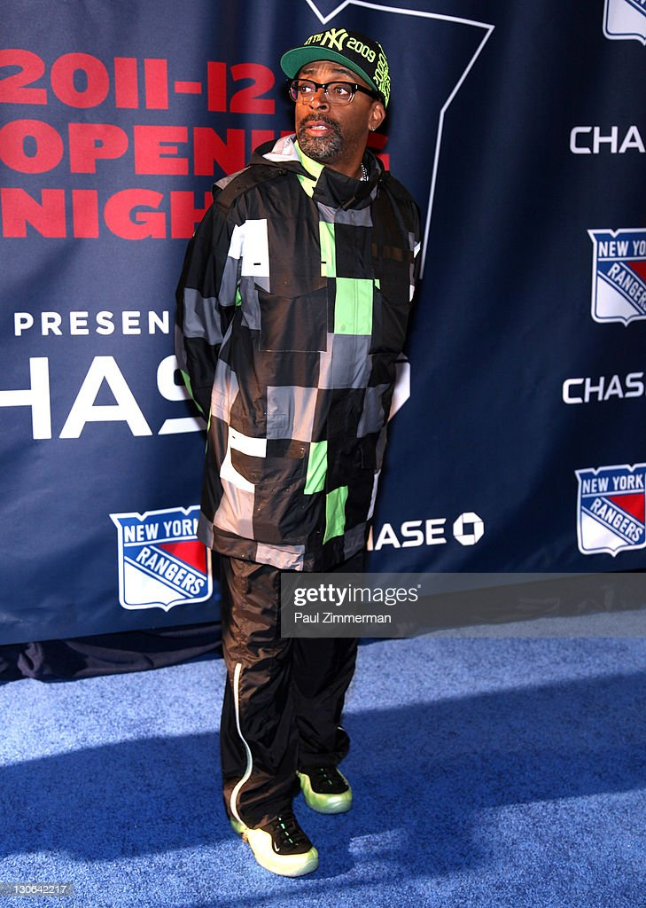 Spike Lee attends the New York Rangers home opener at Madison Square Garden on October 27, 2011 in New York City.
