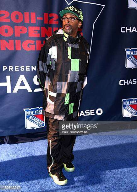 Spike Lee attends the New York Rangers home opener at Madison Square Garden on October 27 2011 in New York City