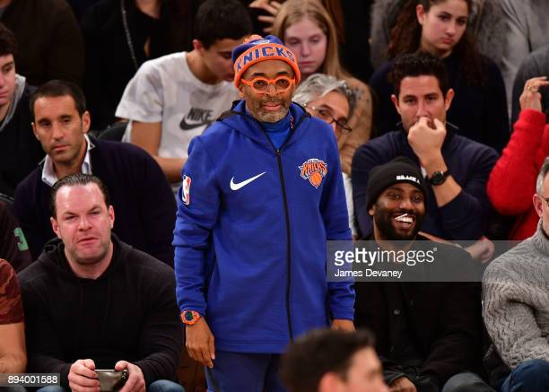 Spike Lee attends the Oklahoma City Thunder Vs New York Knicks game at Madison Square Garden on December 16 2017 in New York City