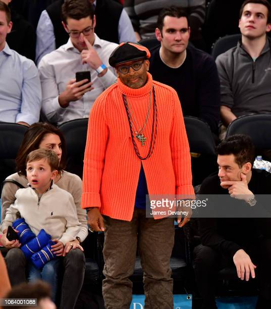 Spike Lee attends the Portland Trail Blazers vs New York Knicks game at Madison Square Garden on November 20 2018 in New York City
