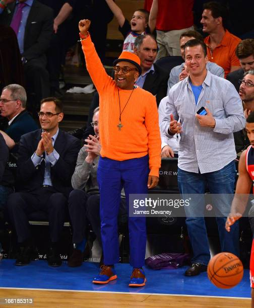 Spike Lee attends the Washington Wizards vs New York Knicks game at Madison Square Garden on April 9 2013 in New York City