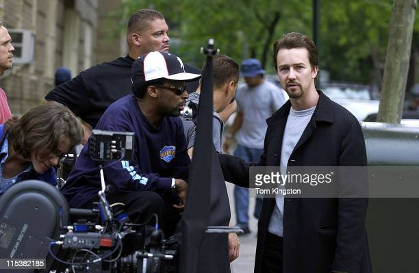 Spike Lee Directing Edward Norton on the set of 'Twenty Fifth Hour' in New York City'