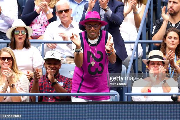 Spike Lee, director and producer, watches the Women's Singles final match between Serena Williams of the United States and Bianca Andreescu of Canada...