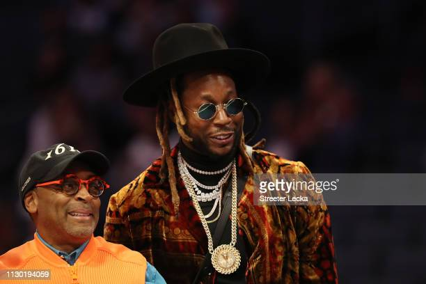 Spike Lee film director watches play alongside rapper 2 Chainz during the Taco Bell Skills Challenge as part of the 2019 NBA AllStar Weekend at...