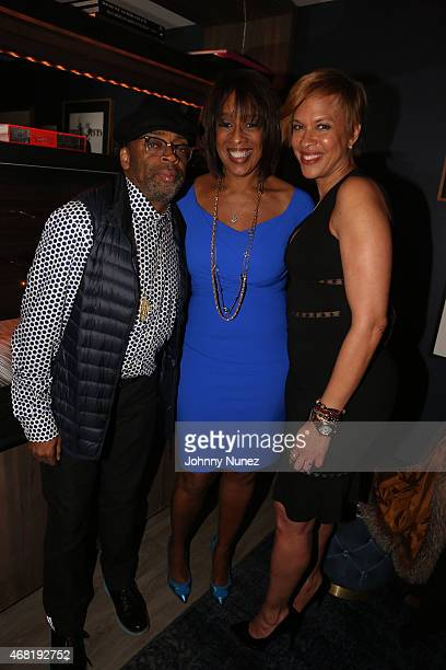 Spike Lee Gayle King and Tonya Lewis Lee attend a Surprise Birthday Party at The Skylark on March 30 2015 in New York City