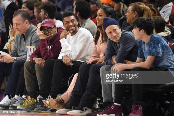 Spike Lee Jackson Lee Jon Stewart and Nathan Stewart attend the 69th NBA AllStar Game at United Center on February 16 2020 in Chicago Illinois