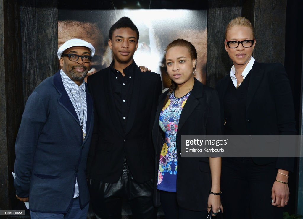 Spike Lee, Jackson Lee, Satchel Lee and Tonya Lewis Lee attend the 'After Earth' premiere at the Ziegfeld Theater on May 29, 2013 in New York City.