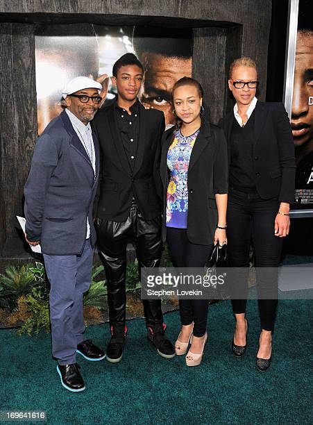 Spike Lee Jackson Lee Satchel Lee and Tonya Lewis Lee attend the After Earth premiere at the Ziegfeld Theater on May 29 2013 in New York City