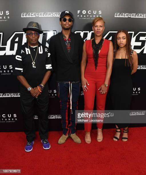 Spike Lee Jackson Lee Tonya Lewis Lee and Satchel Lee attend the BlacKkKlansman New York Premiere at Brooklyn Academy of Music on July 30 2018 in New...