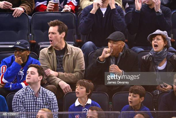 Spike Lee Jim Carrey guest and Susan Sarandon attend the Philadelphia Flyers vs New York Rangers playoff game at Madison Square Garden on April 27...
