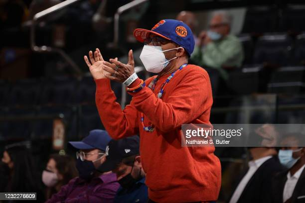 Spike Lee looks on and celebrates during the game between the Los Angeles Lakers and the New York Knicks on April 12, 2021 at Madison Square Garden...