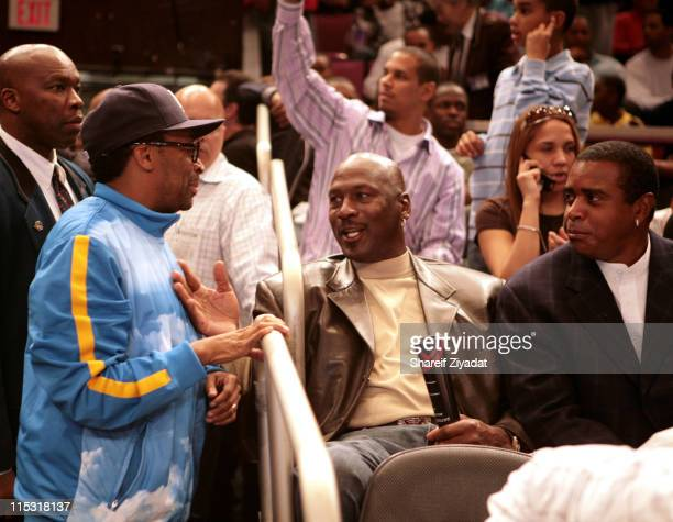 Spike Lee Michael Jordan and Ahmed Rashed during The Brand Jordan AllAmerican Game April 21 2007 at Madison Square Garden in New York City New York...