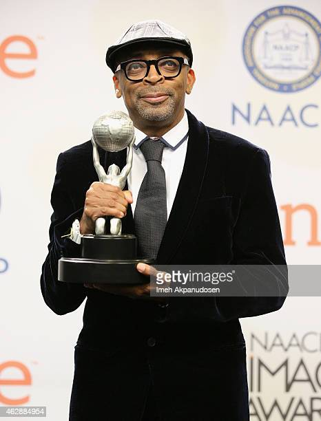 Spike Lee poses in the press room during the 46th NAACP Image Awards presented by TV One at Pasadena Civic Auditorium on February 6 2015 in Pasadena...