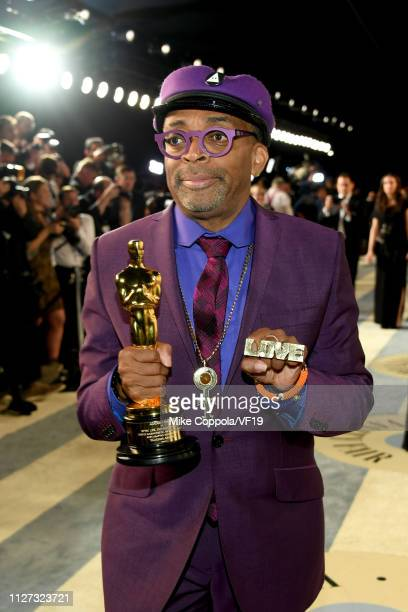 Spike Lee poses with the Academy Award for Best Adapted Screenplay during the 2019 Vanity Fair Oscar Party hosted by Radhika Jones at Wallis...