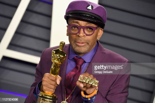 Spike Lee poses with the Oscar for 'Best Adapted Screenplay' for BlacKkKlansman during the 2019 Vanity Fair Oscar Party hosted by Radhika Jones at...