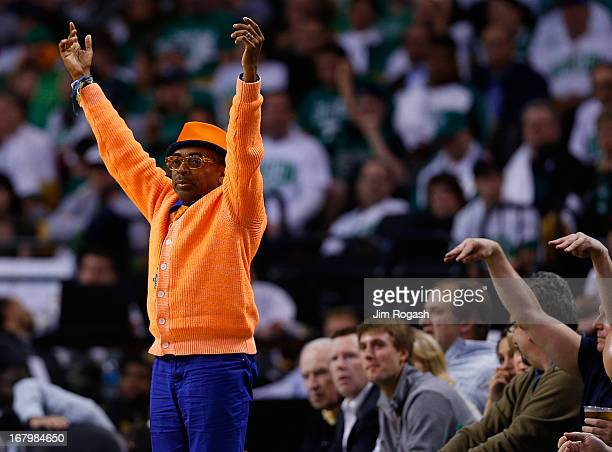 Spike Lee reacts in the 4th quarter as New York Knicks defeat the Celtics 8880 in Game Six of the Eastern Conference Quarterfinals of the 2013 NBA...