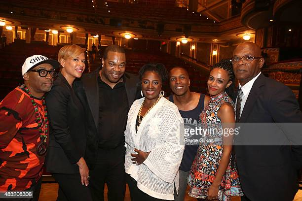 Spike Lee Tonya Lewis Lee Busta Rhymes LaTanya Richardson and Samuel L Jackson attend the after party for Hamilton Broadway opening night at Pier 60...
