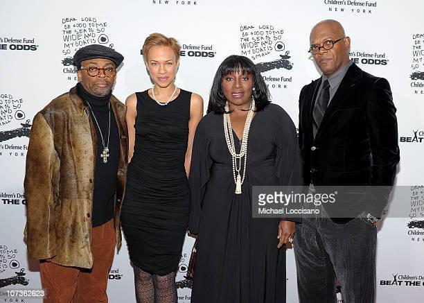 Spike Lee Tonya Lewis Lee LaTanya Richardson Jackson and Samuel L Jackson attend the 20th Anniversary Celebration of the Children's Defense Fund's...