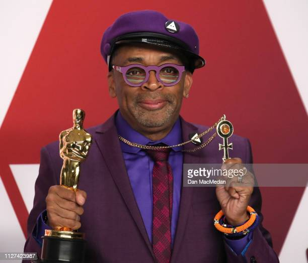 Spike Lee, winner of Best Adapted Screenplay Award for 'BlacKkKlansman', poses in the press room at the 91st Annual Academy Awards at Hollywood and...