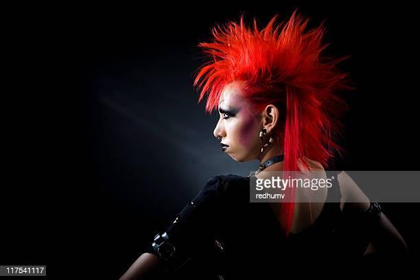 clássicos de cabelo vermelho garota punk - cabelo pintado de vermelho - fotografias e filmes do acervo