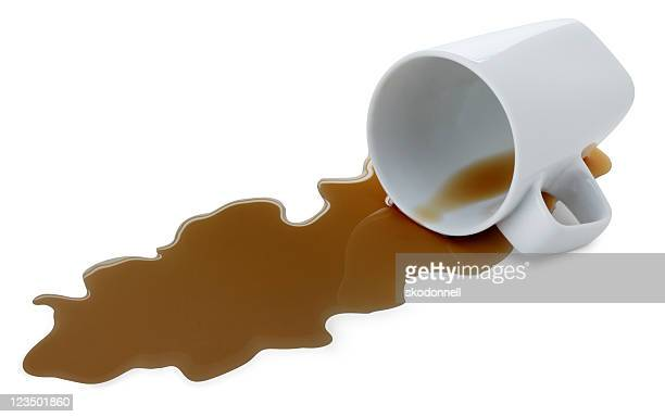 spilled coffee isolated on white - spilling stock photos and pictures