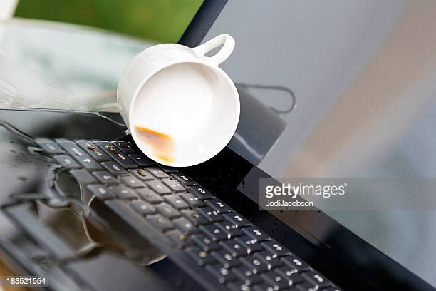 spilled coffee on a computer